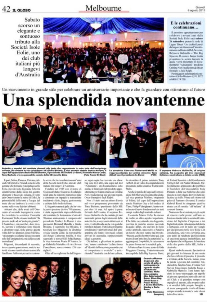 "Il Globo Newspaper Article ""Una splendida novantenne - 6 August 2015, Melbourne"